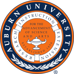 Auburn University Seal. It reads: Auburn University. Research, teaching, extension. For the advancement of science and arts. Established 1865.