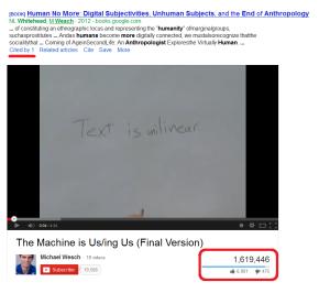 Michael Wesh statistics: book citations vs youtube video views
