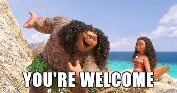 The Disney character Maui bows and tells Moana,