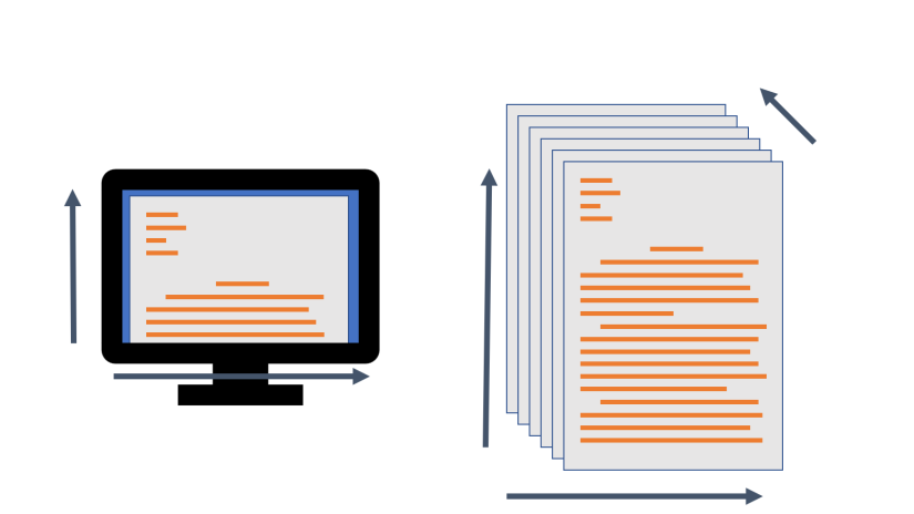 Illustration comparing the 2-dimensional presence of written text on a screen to the 3-dimensional presence of printed text